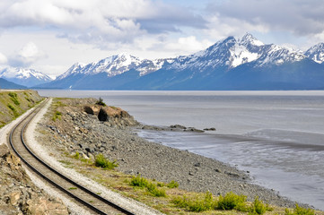 Railroad tracks running through Turnagain Arm, Alaska