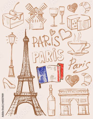 vector hand drawn paris illustration