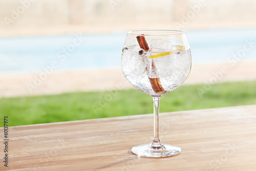 Cinnamon and juniper gin and tonic cocktail by a pool outdoors