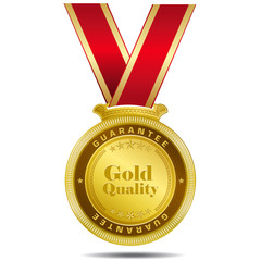 Gold Quality Gold Medal Vector Design