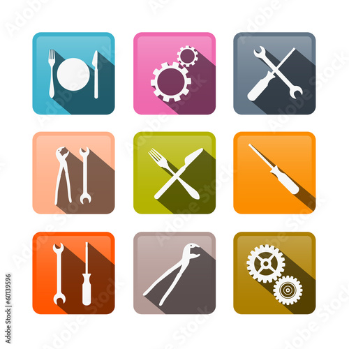 Retro Vector Buttons: Cogs, Gears, Screwdriver