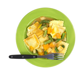 Ravioli Vegetables Fork On Plate Top View