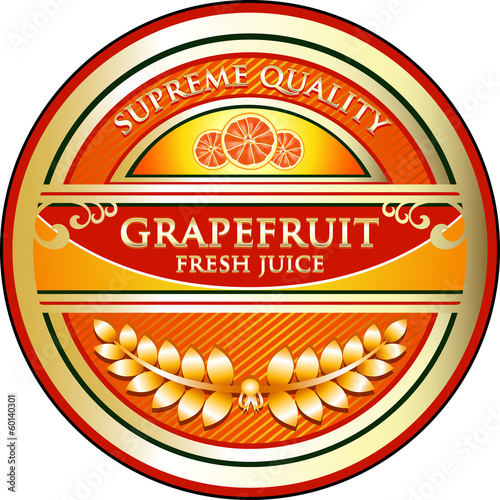 Grapefruit Fresh Juice Vintage Label