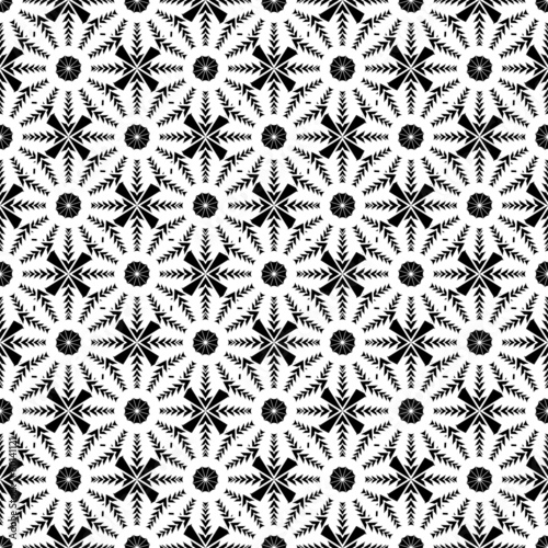 Design seamless monochrome floral pattern. Abstract geometric ba