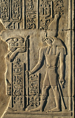 Ancient Egyptian hieroglyphics and reliefs at Temple of Kom Ombo