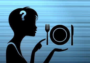 stylish woman silhouette with restaurant