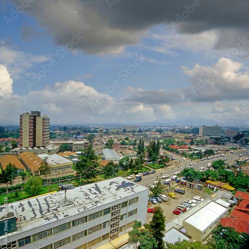 Leinwandbild Motiv A street in Addis Ababa, capital of Ethiopia