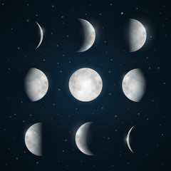 Moon Phases - Night Sky with Stars