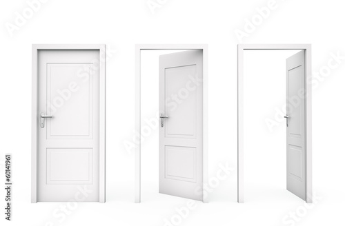 Three white doors