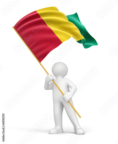 Man and Guinea flag (clipping path included)