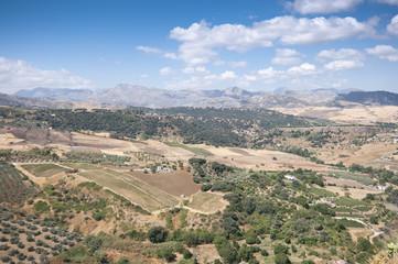 Views of Andalusian countryside from Ronda,  Malaga, Spain