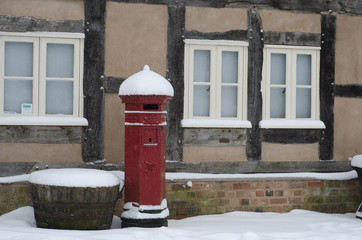 Red Post Box in Snow