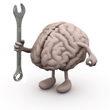 human brain with arms and legs and wrench on hand,