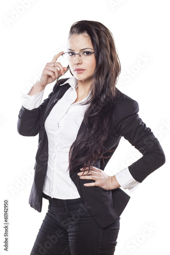 beautiful young business woman posing on white background