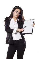 beautiful young business woman posing with a clipboard