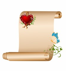 Old scroll and seal in the shape of heart