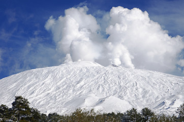 Etna Active Volcano Snow Covered, Sicily