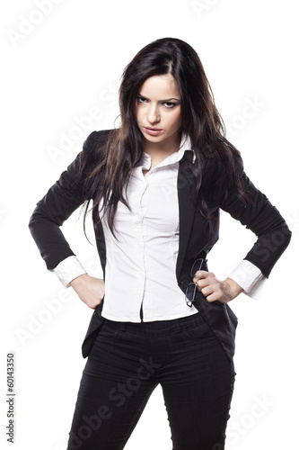 frowning young business woman posing on a white background