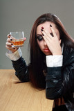 woman in depression drinking alcohol