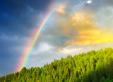 Fototapety Rainbow after rain in the mountain valley.