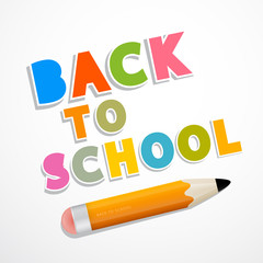 Colorful Vector Back to School Background with Pencil