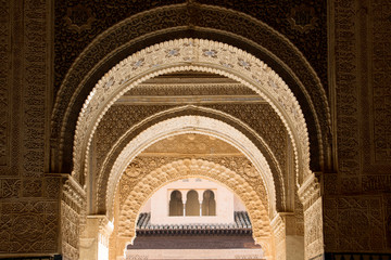 Moorish arch in Alhambra harem room, Spain