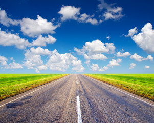 Road and sky. Beautiful summer landscape