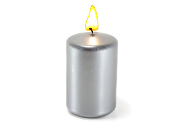 silver candle burning