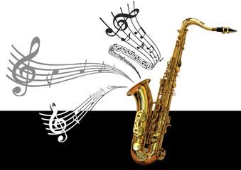 Saxophone et notes