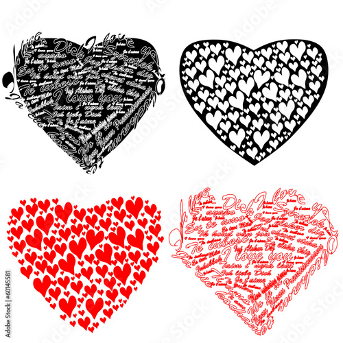black and red heart with hearts and the words I love you