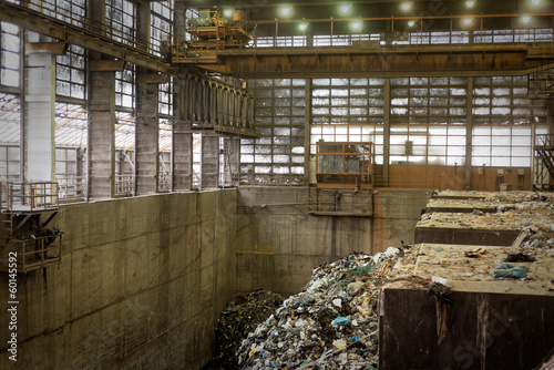 Waste processing plant interior