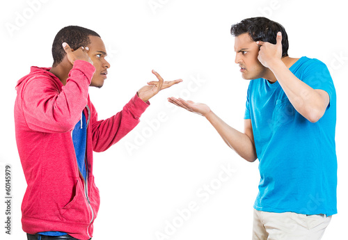 Two man fighting, screaming, blaming each other