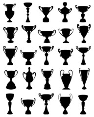 Black silhouettes of different trophies, vector illustration