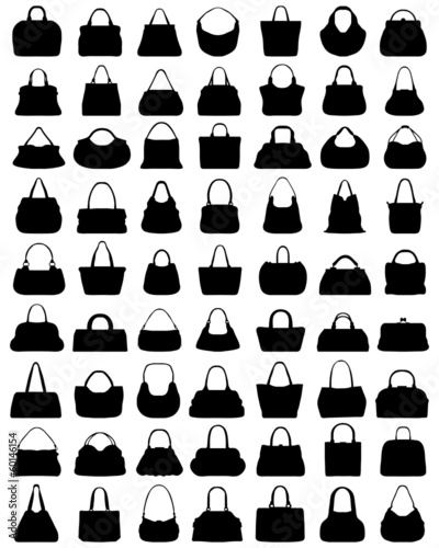 Black silhouettes of ladies purses, vector