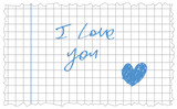 hand-writing i love you and hand drawn blue heart date on clean