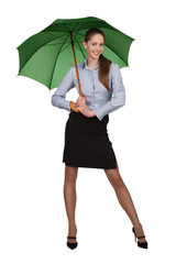 Happy girl under the green umbrella