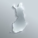 Finland map flag glass card paper 3D