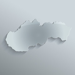 Slovakia map flag glass card paper 3D