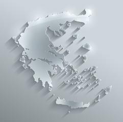 Greece map flag glass card paper 3D