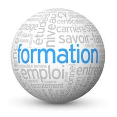 """Globe - Nuage de Tags """"FORMATION"""" (cv études travail continue)"""