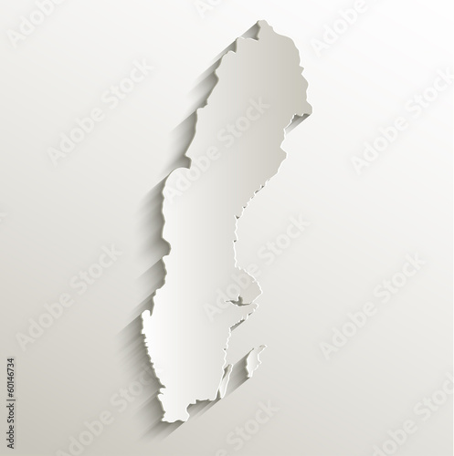 Sweden map card paper 3D natural