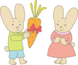 Valentine's day. Rabbits with carrot
