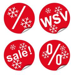 Vier Aukleber / Button, rot, dekorativ für Verkaufsaktionen