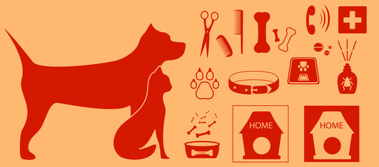 collection isolated objects for pet