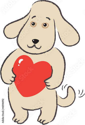 Dog holds in paws gift-heart for Valentine's Day