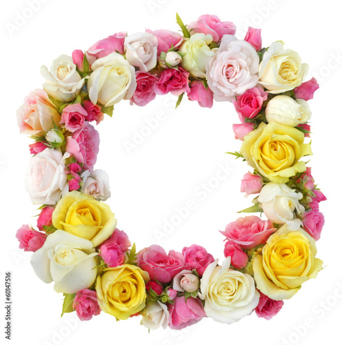 Roses floral frame isolated.