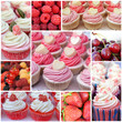 Cupcakes with berries. Collage of sweet desserts