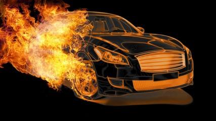 Limousine in Flammen