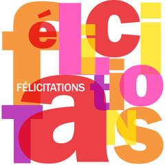 """Mosaïque de Lettres """"FELICITATIONS"""" (carte voeux bravo message)"""