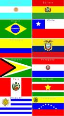 mosaico de banderas de Sudamérica